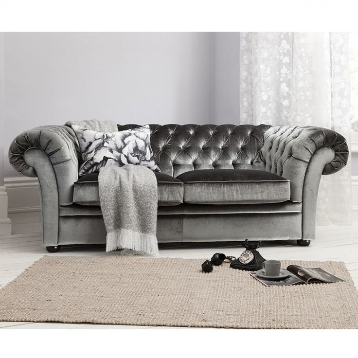 Chesterfield Styled 3 Seat Grey Velvet Sofa Allissias Attic Vintage French  Style - Gray Velvet Chesterfield Sofa €� Hereo Sofa