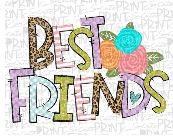 Best Friends Best Friends Forever Clipart Bff Png File For Etsy In 2021 Clip Art Best Friends Forever Valentines Day Clipart