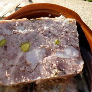 terrine de lapin...hubby went grocery shopping in france!