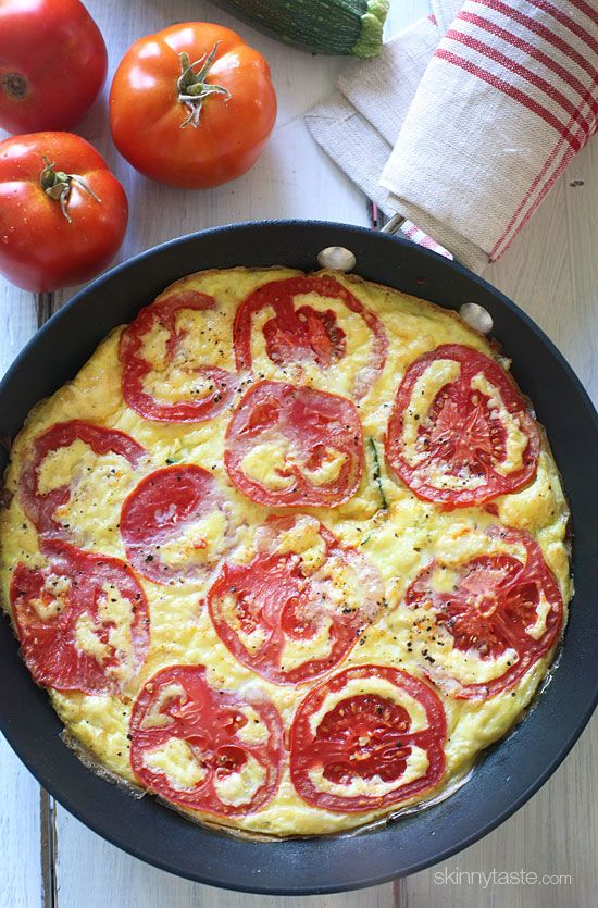 Tomato Zucchini Frittata for Breakfast, Lunch or Dinner! Cheap, quick and low-carb.