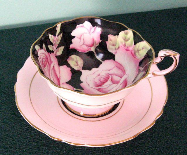 paragon vintage pink roses on black fine bone china cup. Black Bedroom Furniture Sets. Home Design Ideas