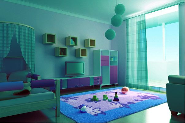 This Bedroom Is Painted In An Aqua Color And Decorated In