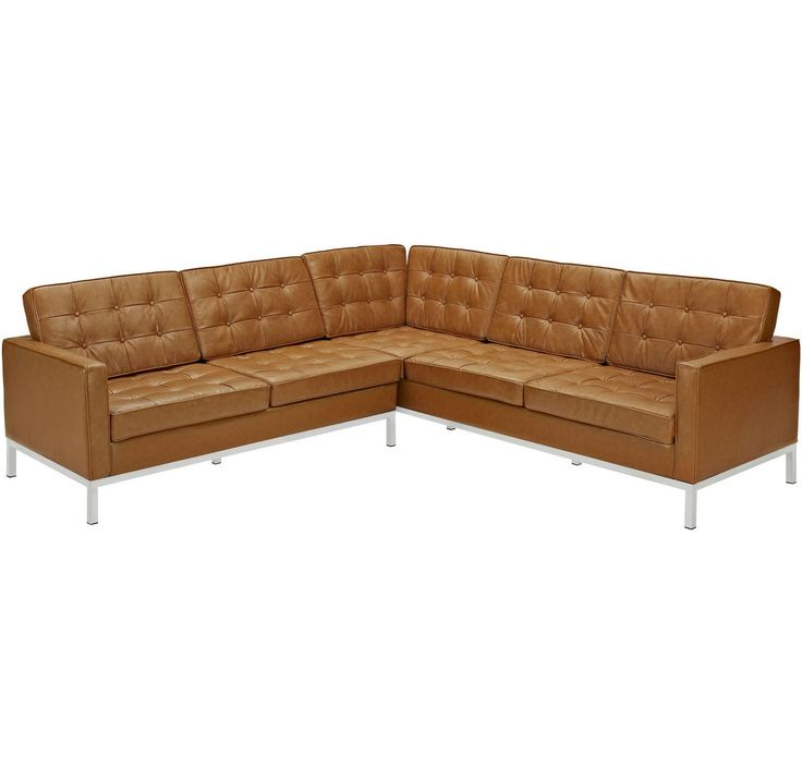 Lyte L Shaped Leather Sectional Sofa Tan