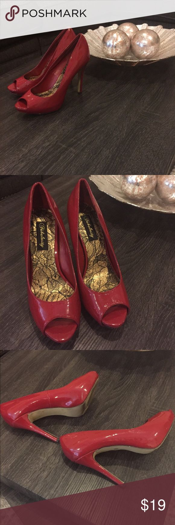 Red peep toe pumps 👠 Red Peep Toe Pumps Size 7.5.  Scuff marks on the inside of one of the shoes. Fabulosity Shoes Heels