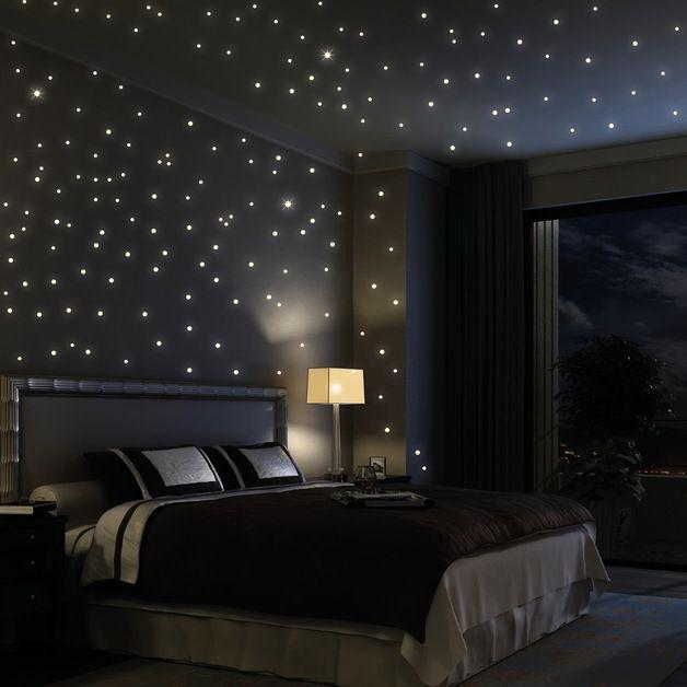 """Wandtattoo """"203 Stück leuchtende Sterne"""" (als Punkte dargestellt) fluoreszierend (leuchten im Dunklen)  Sie erhalten ein Wandtattoo Set, bestehend aus 203 verschiedenen Sternen/Punkte.   Mit diesem..."""