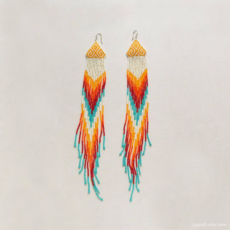 Chevron Beaded Earrings Native Style Extra Long Fringe. $100.00, via Etsy.