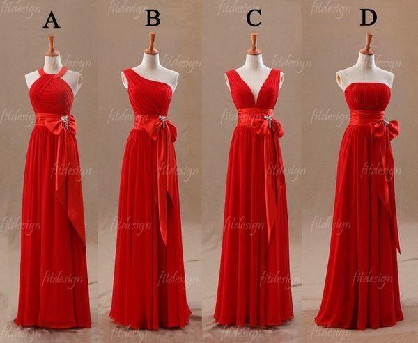 Cuatro diferentes vestidos para damas de honor