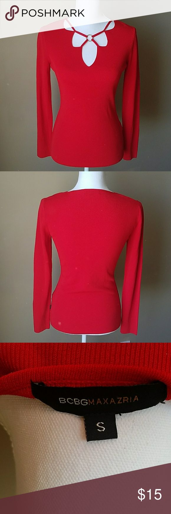 BCBG Maxazria Red Long Sleeve Shirt Christmas or New Years party?! Pair this with a skirt or this amazing pants to stand out this year!!! Bright red long sleeve thick rayon/nylon mix top. Crisscross ring V neck design. EUC. Like new!!! BCBGMaxAzria Tops