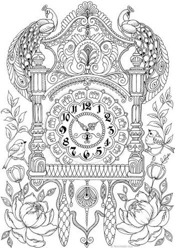 wall clock printable adult coloring