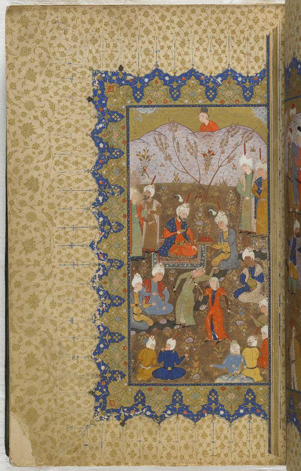 folio 4 recto: Kulliyat (Complete works) by Sa'di (d.1291)  TYPE Manuscript MAKER(S) Calligrapher: Muhammad al-Qivam al-Shirazi HISTORICAL PERIOD(S) Safavid period, mid-16th century MEDIUM Ink, opaque watercolor and gold on paper DIMENSION(S) H x W (overall): 31.1 x 20.6 cm (12 1/4 x 8 1/8 in) GEOGRAPHY Iran, probably Fars, Shiraz