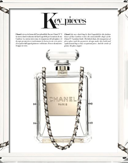 The new clutch bag by Karl Lagerfeld for this fashion house of Rue Cambon evokes the unmistakeable shape of the Chanel N°5 perfume bottle. The linked chain, the transparence of plexi-glass and the geometric design make this bold and sophisticated bag a truly exceptional piece. And the stroke of genius: the glass stopper. #KarlLagerfeld #ChanelN°5 #parfum #fashion #woman #style #look