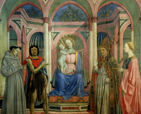 DOMENICO VENEZIANO: Santa Lucia de' Magnoli Alterpiece, 1445-47 for Santa Maria de' Magnoli Church in via de' Bardi. Probably the first and oldest altarpiece in a rectangle and without a gold background. There is innovation in the use of light. In fact light is fundamental and outreaches the whole scene coming in from the top right corner. The architectural space is harmonious and depicted following the principles of geometric perspective, enhanced by the inlaid marble.