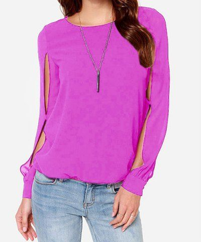 Casual Jewel Neck Long Sleeve Hollow Out Chiffon Blouse For Women
