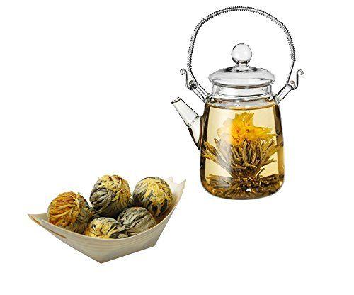 Glaskanne und 7 Teeblumen / Teerosen in einem Schiffchen aus Pinienholz - Tee Geschenkset: Amazon.de: Lebensmittel & Getränke