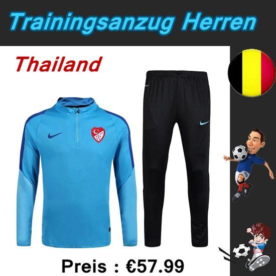 Schönsten Neue Trainingsanzüge Fussball Herren Kits Türkei Blau Saison 2016 2017 Discount Großhandel