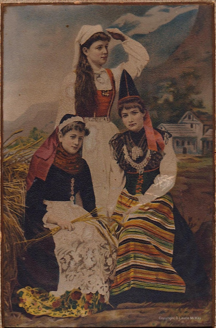 Vintage photo of Norwegian (top), Swedish (right) and Danish (left) folk costumes.