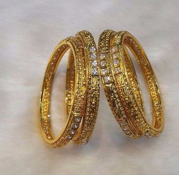 Indian Wedding Bangles Bracelet Set Goldtone Party Wear Women Jewelry 4 Pc 2.6/8 #Handmade #Bangle