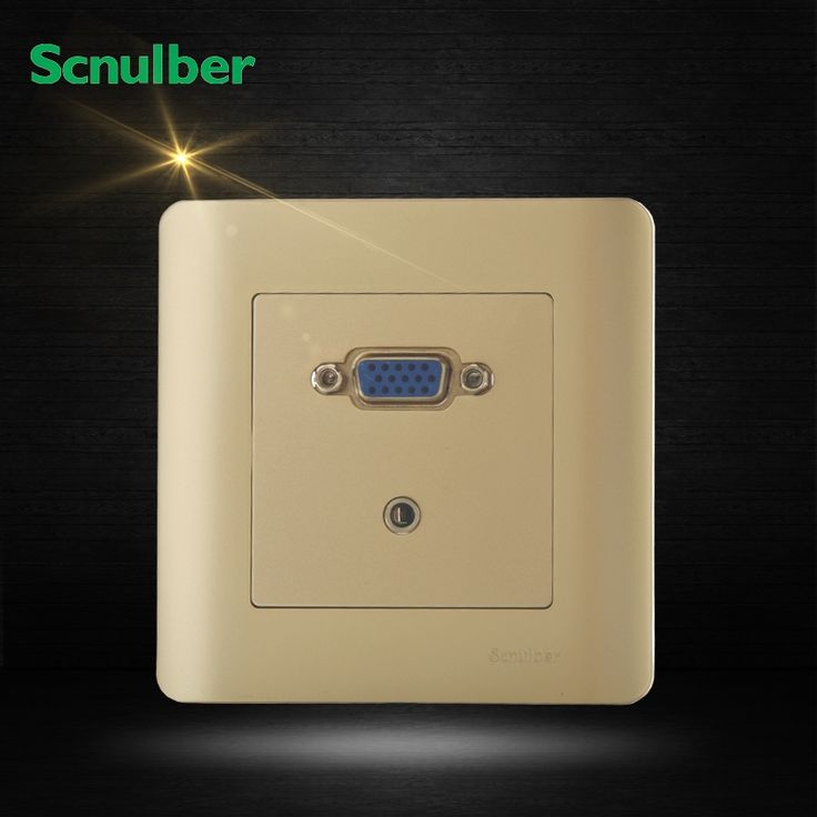 14.52$  Watch here - http://ali5sg.shopchina.info/go.php?t=32662509655 - luxury champagne D-sub Video Graphics Array VGA audio frequency wall switch socket 14.52$ #bestbuy