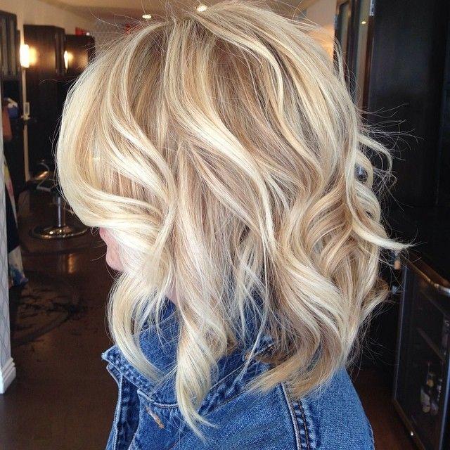 Platinum Blonde Hair With Lowlights | Shoulder Length Blonde Curls