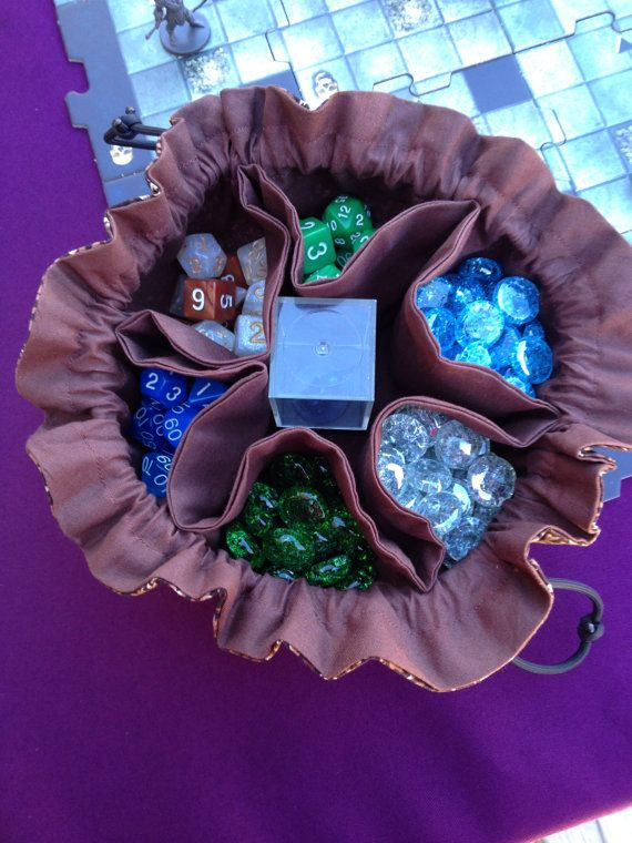 The Druid  Bag of Many Dice  6 Pocket Dice by TheDMsWifeRPGShop