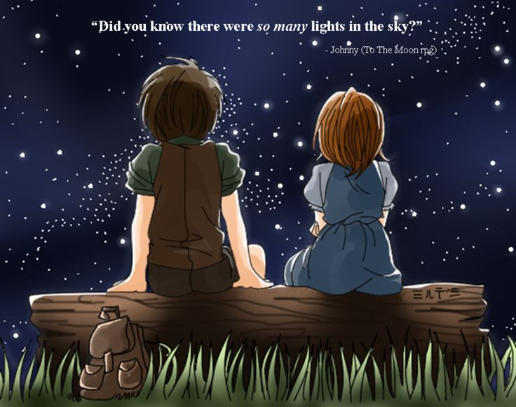 did you know there were so many lights in the sky?  To the Moon rpg fan art by Mildemme