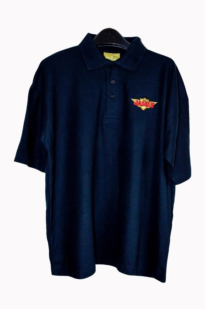 CLASSIC JAMES MOTORCYCLES EMBROIDERED LARGE BLACK POLO SHIRT /2 STROKE,VILLIERS