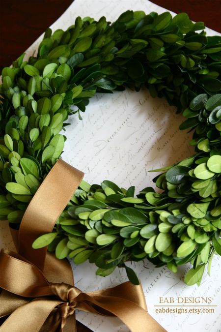 Preserved Boxwood Wreaths - http://www.eabdesigns.etsy.com