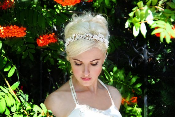 white flower crown ivory wedding headband bridal by TopGracia