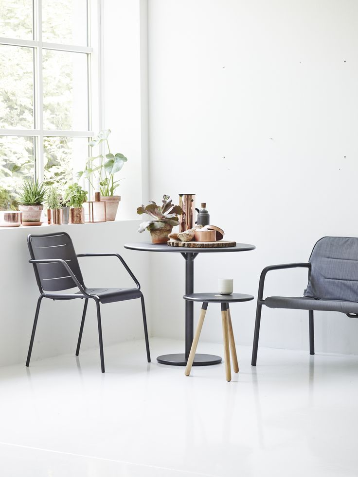 GO table, Copenhagen stool, Kapa lounge chair and area table stool. Perfect for a small area, both for indoor and outdoor.