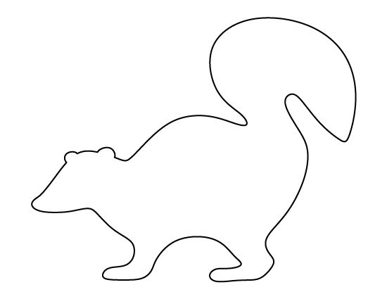 Skunk pattern. Use the printable outline for crafts, creating stencils, scrapbooking, and more. Free PDF template to download and print at http://patternuniverse.com/download/skunk-pattern/