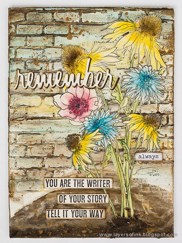 Layers of ink - Mixed Media Flower Canvas Tutorial by Anna-Karin. Made with Sizzix Flower Garden & Mini Bouquet dies by Tim Holtz, as well as stamps by Stamper's Anonymous. A wide range of Ranger ink media and paints. Sentiment stamp by Wendy Vecchi.