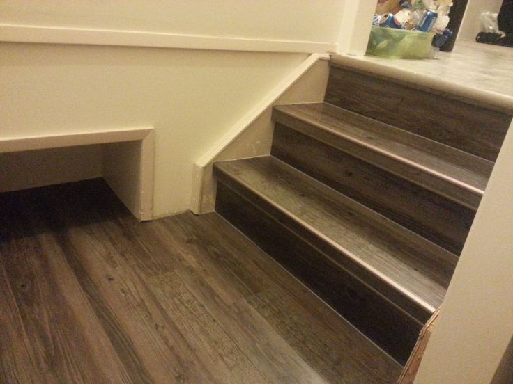 Drop Amp Done Luxury Vinyl Plank In Eastern Township With Metal Insert Stair Nosing Tile Stair