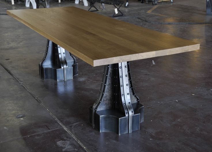 French Column Table By Vintage Industrial