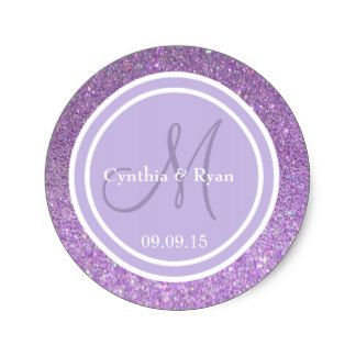 Purple Glitter Customizable Thank You Label Round Stickers With a Lavender and White Circle Designs. Many other Colors Available. Can Be Used for a variety of events from Weddings To Birthdays and other events of your choosing.
