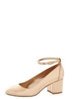 Womens *London Rebel Block Heel Ankle Strap Shoes- Rose Gold