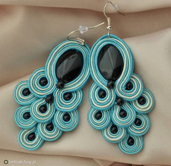 Soutache- Peacock tail earrings