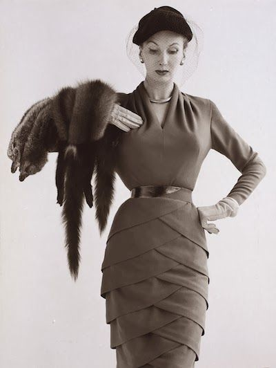 Barbara Goalen in a Lily Schroter woolen dress, photographed by John French, 1951.