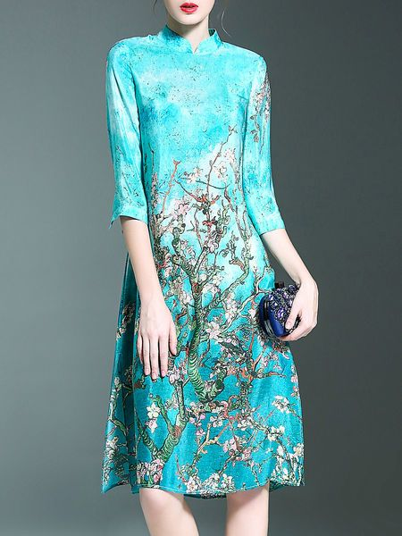 Blue Vintage Crew Neck Silk Floral Midi Dress