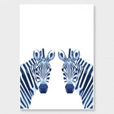 Zebra Pair Art Print by Tiny Kiwi