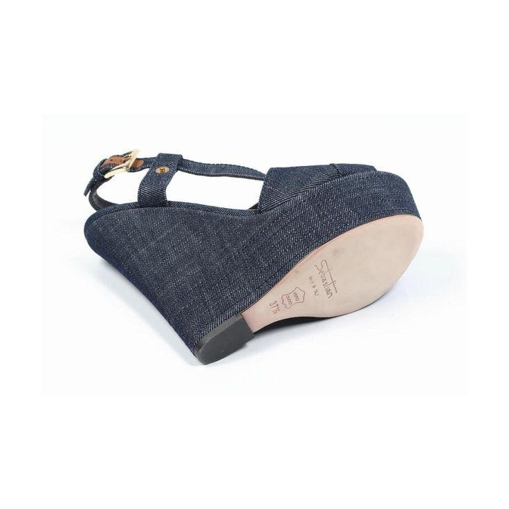 2 37.5 EUR - 7.5 US Sebastian Milano ladies espadrille wedge sandal S5309 JEANS VALIVO