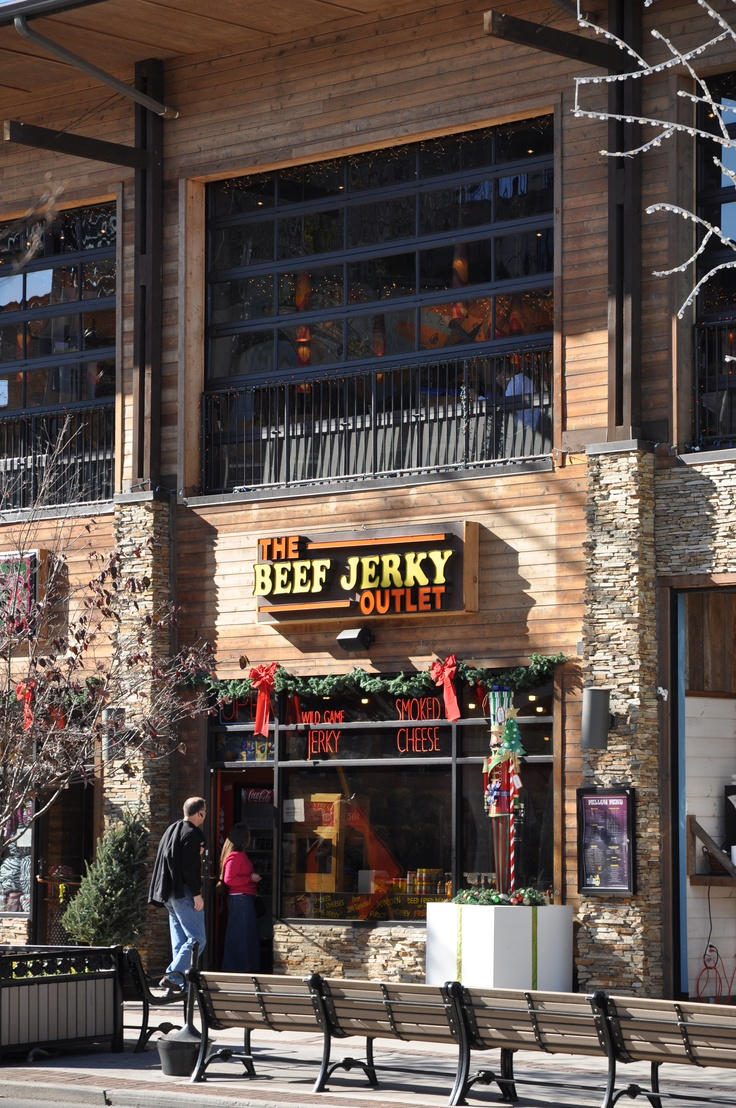 Try many different flavors of beef jerky at the Beef Jerky Outlet in Gatlinburg on the Parkway at red light #8.