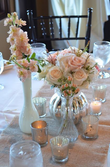 Pink centerpieces, Blush centerpieces,  Mercury glass, milk glass centerpieces by Flour and Flower Designs and Flower Designs