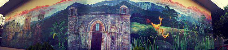 Mural del templo dedicado a San Miguel Arcángel. Sonzacate, El Salvador, CA.