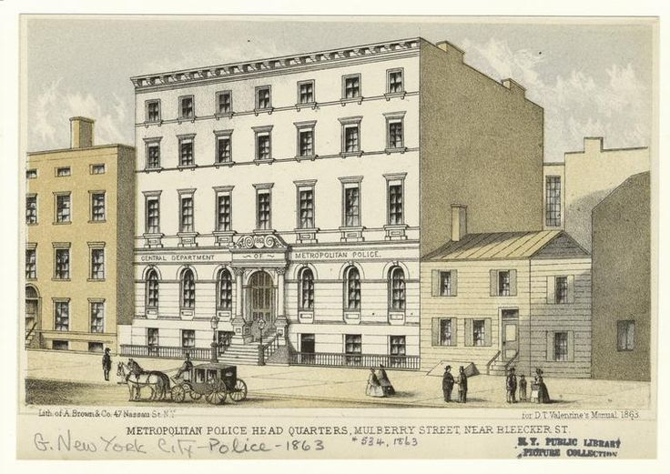 Metropolitan Police Head Quarters, Mulberry Street, Near Bleeker St. From New York Public Library Digital Collections.