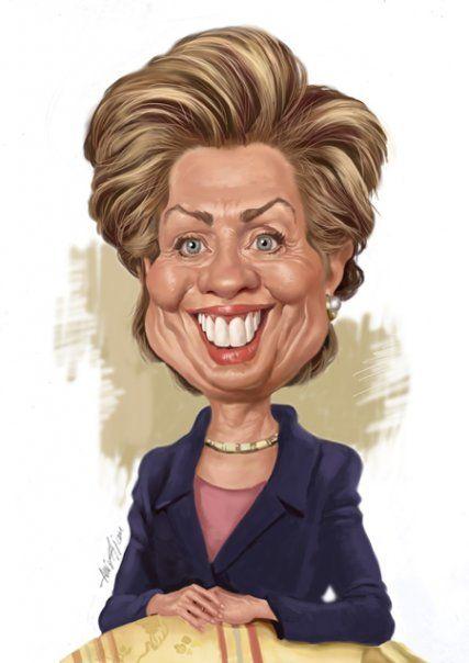 Caricatura de la, según todas las encuestas, primera presienta femenina de Los EEUU, Hillary Clinto...