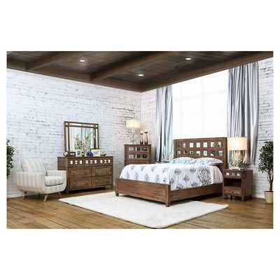 Kayleigh Transitional Mirror Accent Bed - Cal King - Rustic Oak - Furniture Of America, Brown