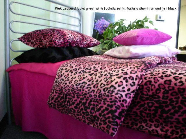 pink black cheetah bedroom accessories | Leopard Duvet Cover | Leopard Bedspread / Coverlet