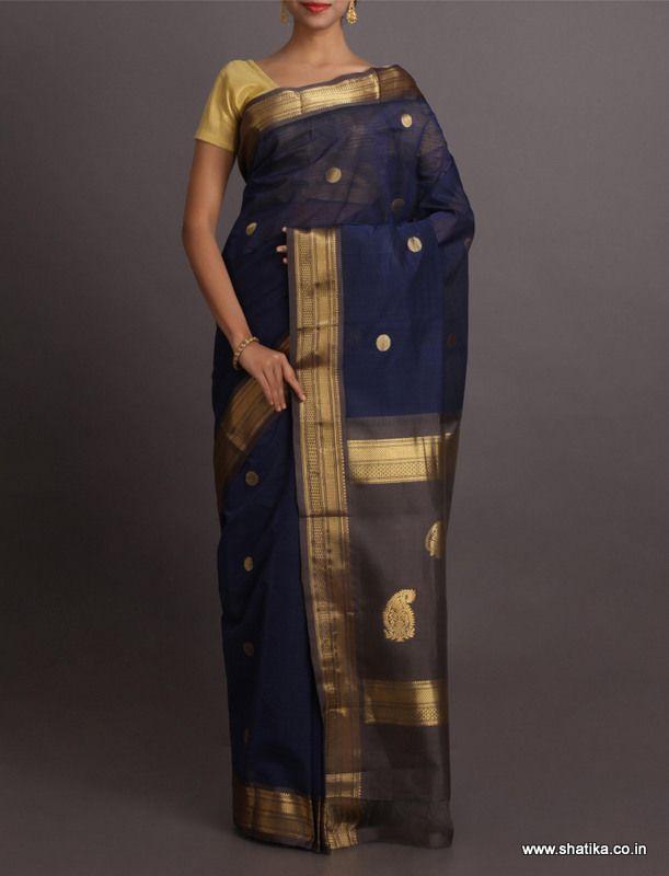 Noori Royal Blue And Gold Grand #GadwalCottonSaree