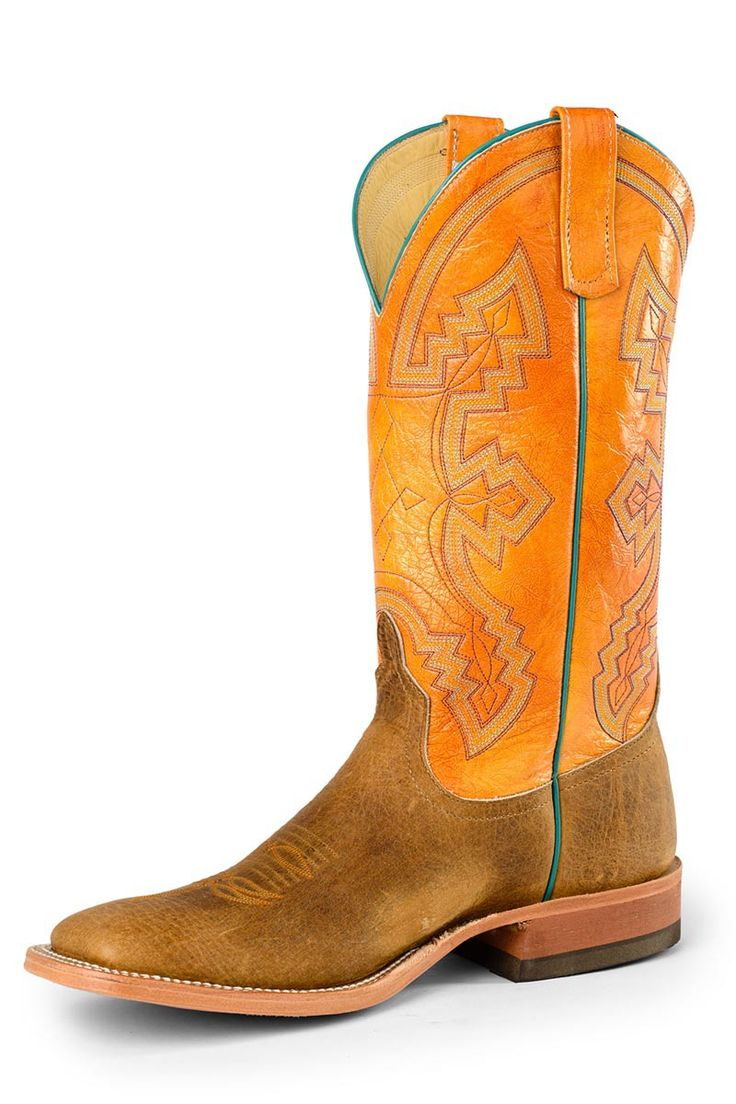 Anderson Bean Distressed American Bison Men's Boots With Orange - HeadWest Outfitters