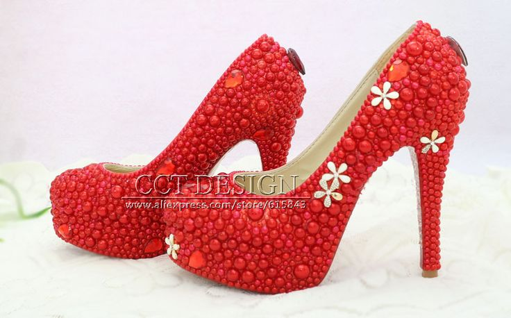 >> Click to Buy << custom made sexy ladies rhinestone and red pearl wedding bridal shoes high heeled pumps free shipping #Affiliate